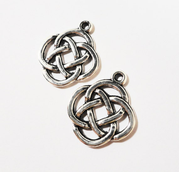 Chinese Knot Charms 20x17mm Antique Silver Knot Charms, Chinese Knot Pendant, Symbolic Charms, Metal Charms for Crafts and Jewelry, 10pcs