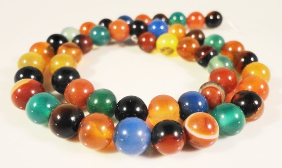 """Agate Gemstone Beads 8mm Round Multicolor (Dyed) Agate Semiprecious Stone Beads for Jewelry Making on a Full 14 1/2"""" Strand with 48 Beads"""