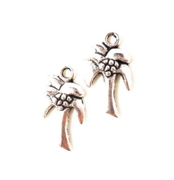 Palm Tree Charms 18x10mm Antique Silver Tone Metal Small Tropical Tree Charm Pendant Jewelry Making Findings Craft Supplies 10pcs