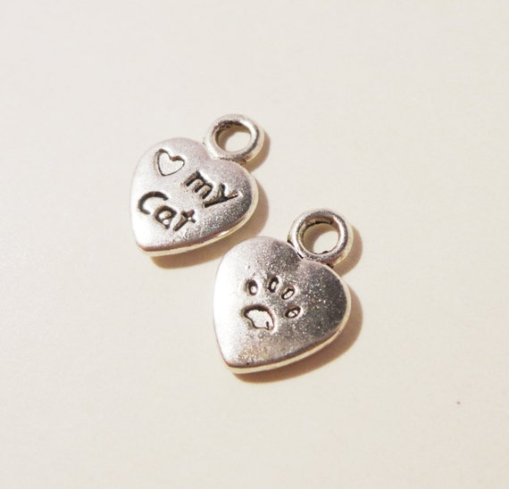 Heart Cat Charms 12x9mm Antique Silver Metal Love My Cat Pet Paw Print Small Charm Pendant Jewelry Making Jewelry Findings 10pcs