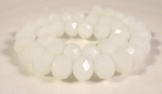 Rondelle Crystal Beads 8x6mm (6x8mm) Frosted Opaque Milky White Faceted Chinese Crystal Glass Beads on an 8 1/2 Inch Strand with 35 Beads