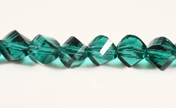 Teal Helix Crystal Beads 6mm Teal Green Faceted Chinese Crystal Beads on a 7 Inch Strand with 33 Beads