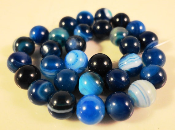 """Blue Agate Beads 6mm Round Gemstone Beads, Striped Agate Beads, Dyed Blue Stone Beads for Jewelry Making on a 7 1/4"""" Strand with 31 Beads"""