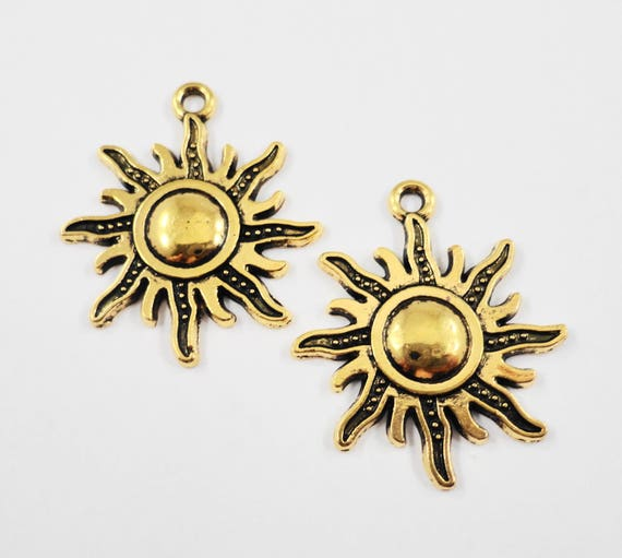 Gold Sun Charms 28x23mm Antique Gold Sun Pendants, Sunray Charms, Weather Charms, Summer Charms, Metal Charms for Jewelry Making, 10pcs