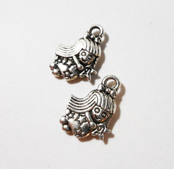 Silver Fairy Charms 15x11mm Antique Silver Metal 2 Sided Faerie Charms Fairy Tale Charms Fairy Pendants Jewelry Making Craft Supplies 10pcs