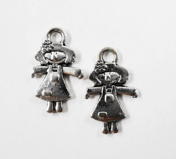 Silver Doll Charms 15x9mm Antique Silver Girl Charms, Small Toy Charms, Girl Doll Charms, Silver Metal Charms for Jewelry Making, 10pcs
