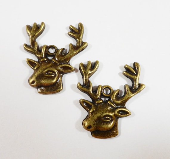 Reindeer Charms 27x21mm Bronze Deer Head Charms, Antique Brass Deer Antler Charms, Stag Charms, Reindeer Pendants, Animal Charms, 10pcs