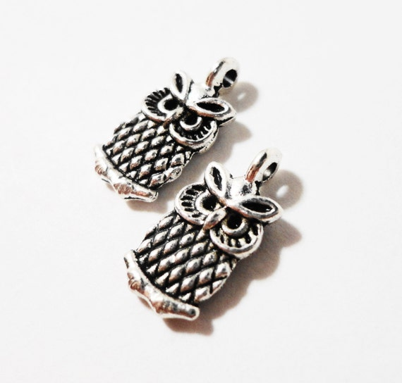 Silver Owl Charms 14x7mm Antique Tibetan Silver Metal 2 Sided Small Bird Charm Pendant Jewelry Making Jewelry Findings Craft Supplies 10pcs