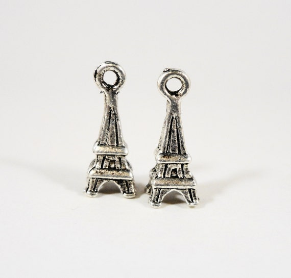 Eiffel Tower Charms 17x7mm Antique Tibetan Silver Metal Paris France Charms, 3D Eiffel Tower Pendant, Jewelry Making Craft Supplies 10pcs