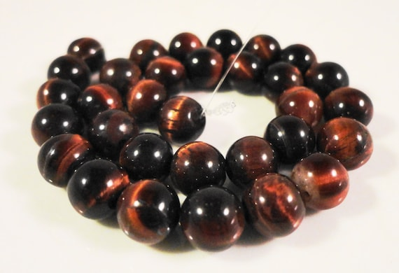 Red Tigers Eye Beads 6mm Round Tiger Eye Beads, Natural Red Stone Beads, Tiger Eye Gemstone Beads on a 7 1/4 Inch Strand with 31 Beads