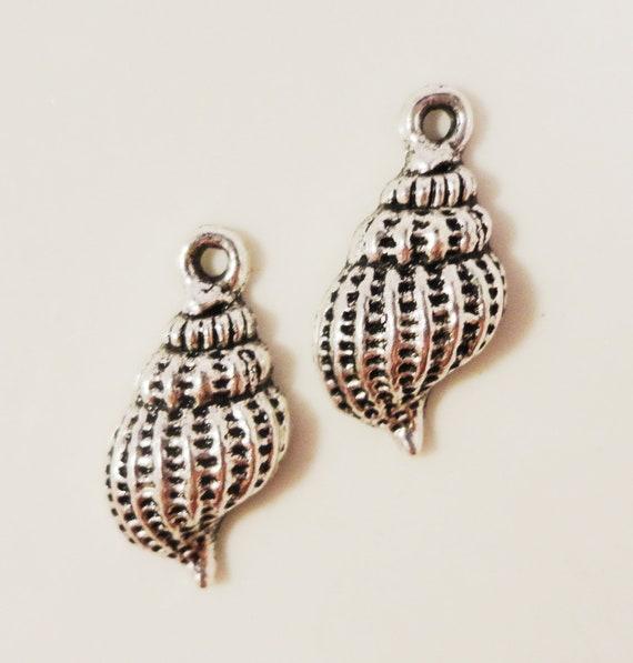 Silver Seashell Charms 19x10mm Antique Silver Metal Beach Charms Ocean Sea Nautical Conch Shell Charm Seashell Pendants Jewelry Making 10pcs