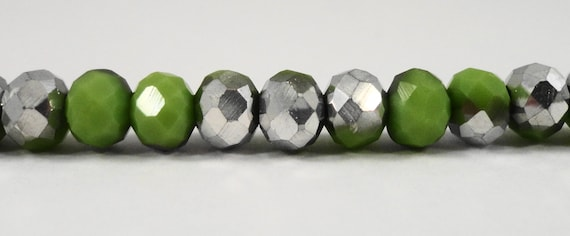"""Rondelle Crystal Beads 6x4mm Opaque Olive Green Half Metallic Silver Rondelle Beads Chinese Crystal Glass Beads on a 9"""" Strand with 50 Beads"""