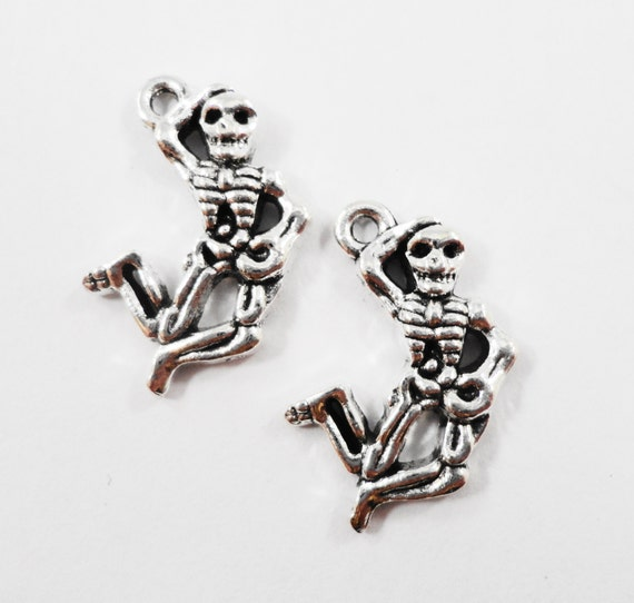 Silver Skeleton Charms 20x12mm Antique Silver Skeleton Pendants, Dancing Skeleton Charms, Halloween Charms Metal Charms Craft Supplies, 10pc