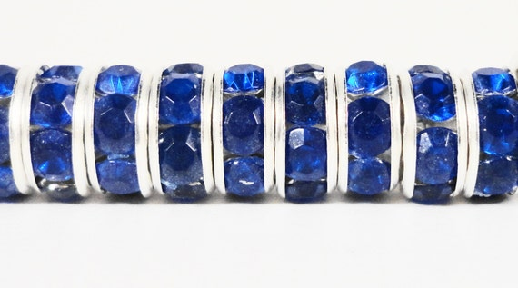 Rhinestone Rondelle Beads 8mm Blue Silver Plated Metal Acrylic Rhinestone Crystal Spacer Beads for Jewelry Making 50 Loose Beads per Pack