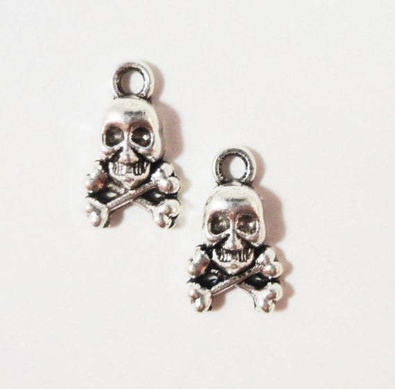 Skull and Crossbone Charms 13x8mm Antique Silver Metal Small Skull Charm Pendant Jewelry Making Jewelry Findings Craft Supplies 10pcs