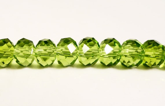 "Green Rondelle Crystal Beads 6x4mm (4x6mm) Olive Olivine Light Green Faceted Chinese Crystal Glass Beads on an 8 3/4"" Strand with 50 Beads"