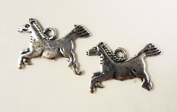 Silver Horse Charms 18x13mm Antique Silver Tone Metal Mustang Stallion Double Sided Animal Charm Pendant Jewelry Findings 10pcs
