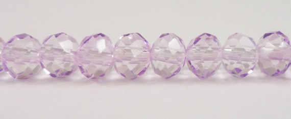 """Crystal Rondelle Beads 6x4mm (4x6mm) Lilac Light Purple Crystal Beads, Faceted Chinese Crystal Glass Beads on an 8"""" Strand with 49 Beads"""