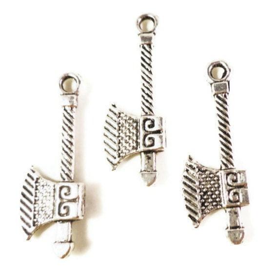 Silver Axe Charms 27x10mm Antique Silver Tone Metal Ax Charms Tool Charms Hatchet Charms Lead Free Double Sided Charm Axe Pendants 10pcs