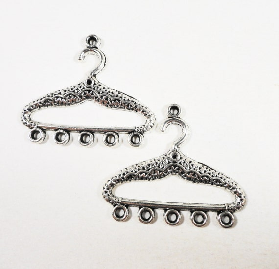 Hanger Connector Pendants 34x30mm Antique Silver Hanger Charms, Earring Connectors, Chandelier Earring Findings 1 to 5 Connector Charms 6pcs