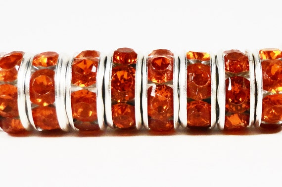 Rhinestone Rondelle Beads 8mm Deep Orange Silver Plated Metal Acrylic Rhinestone Crystal Spacer Beads for Jewelry Making 50 Loose Beads