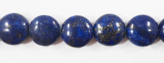 """Lapis Gemstone Beads 12mm Coin Shaped Lapis Luzuli Beads, Blue Stone Beads, Lapis with Pyrite Inclusions on a 7"""" Strand with 15 Beads"""