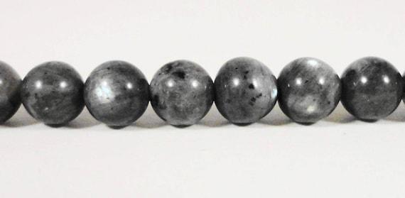 "Larvikite Gemstone Beads 5mm Round Natural Grey Gray Stone with Blue Flash, Black Labradorite Gemstone Beads on a 7 1/4"" Stand with 33 Beads"
