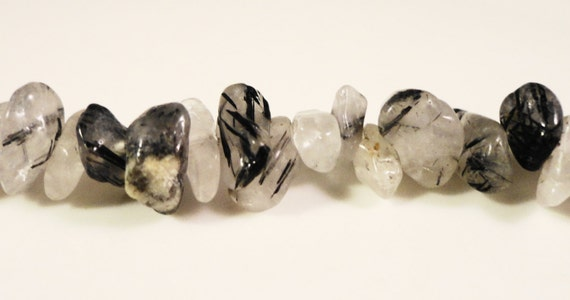"Rutilated Quartz Chip Beads 2x4mm to 10x6mm Tourmalated Quartz Gemstone Semiprecious Stone Chips on a Full 17"" Strand with Over 120 Beads"