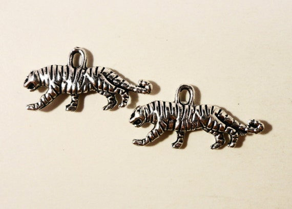 Silver Tiger Charms 22x10mm Antique Silver Tiger Charm Metal Charms 2 Sided Zoo Animal Charm Tiger Pendants Jewelry Making Charms 10pcs
