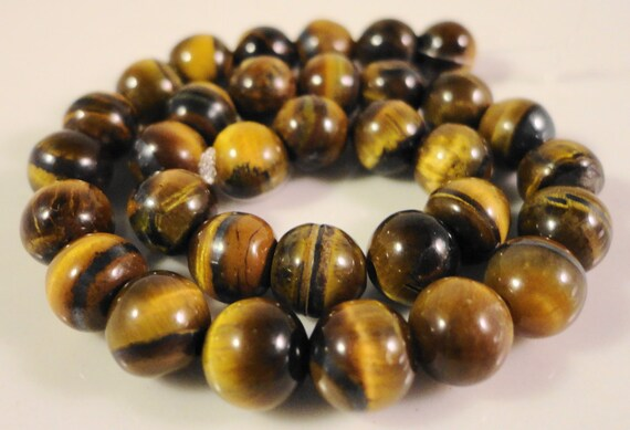 "Tiger's Eye Gemstone Beads 6mm Round Smooth Tiger Eye Stone Beads for Jewelry, Natural Brown Gemstone Beads on a 7 1/4"" Strand with 30 Beads"