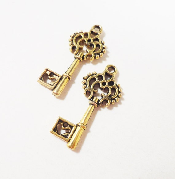 Gold Key Charms 27x11mm Antique Gold Heart Key Charms, Gold Key Pendants, Skeleton Key Charm, 2 Sided Metal Charms for Jewelry Making, 10pcs