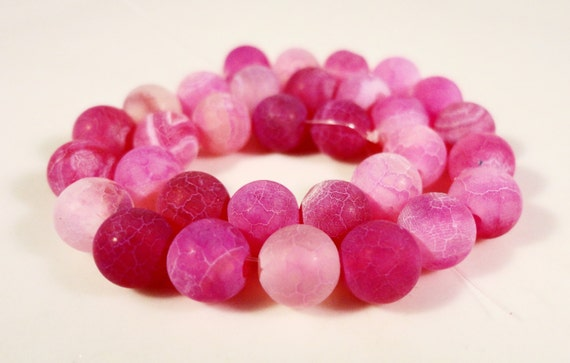 Agate Gemstone Beads 6mm Round Fuchsia Pink Frosted Matte Cracked Fire Agate Stone Beads (Dyed) on a 7 Inch Strand with 31 Beads