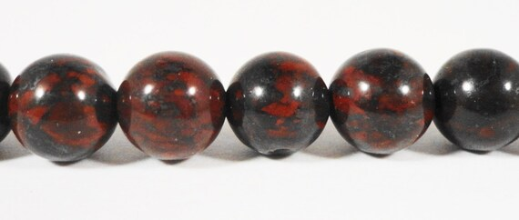 "Bloodstone Gemstone Beads 8mm Round Smooth Natural Deep Red and Charcoal Gray (Grey) Stone Beads on a 7 1/4"" Strand with 23 Beads"