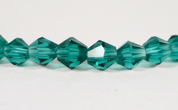 Bicone Crystal Beads 4mm Peacock Green (Blue-Green) Small Faceted Chinese Crystal Glass Beads for Jewelry Making 100 Loose Beads per Pack
