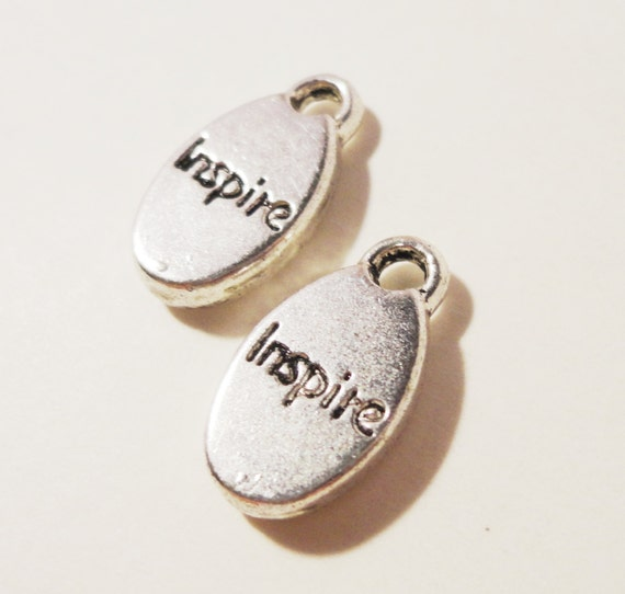Inspire Tag Charms 15x8mm Antique Silver Metal Inspirational Word Oval Charm Pendant Jewelry Making Jewelry Findings Craft Supplies 10pcs