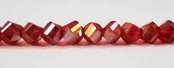"Helix Crystal Beads 6mm Cherry Red AB Crystal Beads, Faceted Polygon Beads, Chinese Crystal Glass Beads on a 6"" Strand with 33 Beads"