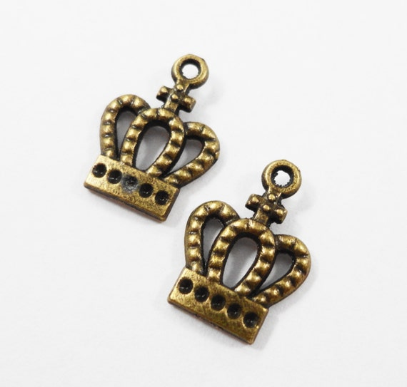 Bronze Crown Charms 14x10mm Antique Brass Crown Charms, Small Crown Pendants, King Charms, Queen Charm, Cross Crown Charm, Metal Charms 10pc