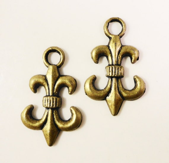 Bronze Fleur De Lis Charms 23x14mm Antique Brass Anchor Charms, Nautical Metal Charms, Upside Down Fleur De Lis Pendant, Jewelry Making 10pc