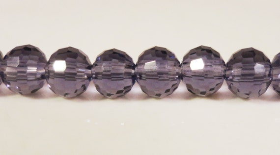 Purple Crystal Beads 6mm Round Plum Purple Micro Faceted Disco Ball Style Chinese Crystal Beads on a 7 Inch Strand with 33 Beads