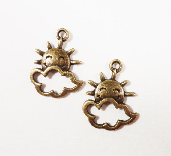 Bronze Sun Charms 20x16mm Antique Brass Metal Smiling Sunshine and Cloud Weather Charms Sun Pendant DIY Jewelry Making Craft Supplies 10pcs