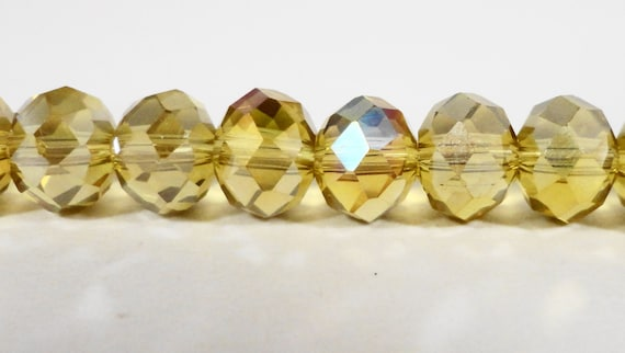 Rondelle Crystal Beads 8x6mm (6x8mm) Mustard Yellow AB Faceted Chinese Crystal Glass Beads on an 8 1/4 Inch Strand with 35 Beads USA Seller