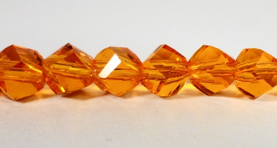 "Helix Crystal Beads 6mm Orange Faceted Twisted Crystal Beads, Chinese Crystal Glass Beads, Polygon Beads on a 7"" Strand with 33 Beads"