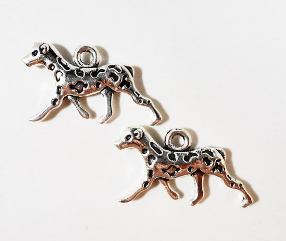 Silver Dog Charms 22x13mm Antique Silver Metal Spotted Dalmatian Dog Animal Charm 2 Sided Dog Pendant Jewelry Making Craft Supplies 10pcs