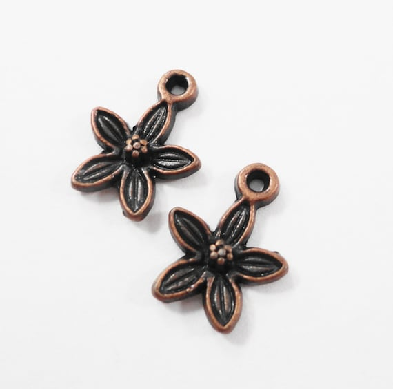 Copper Flower Charms 13x10mm Antique Copper Flower Pendants, Small Lily Charms, Flower Drops, Metal Charms for Jewelry, Craft Supplies, 12pc