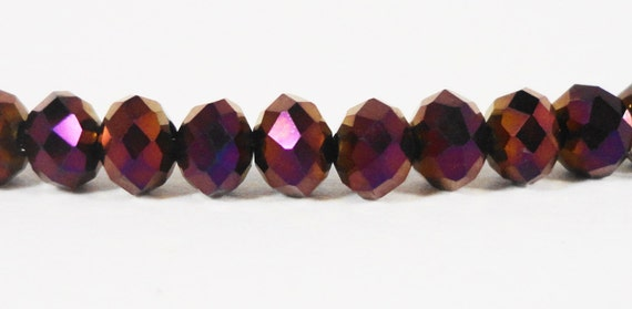 Rondelle Crystal Beads 4x3mm (3x4mm) Metallic Purple and Gold Small Faceted Chinese Crystal Glass Beads for Jewelry Making 100 Loose Beads
