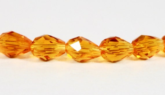 Teardrop Crystal Beads 5x3mm (3x5mm) Light Orange Faceted Small Chinese Crystal Glass Beads, Drop Crystal Beads, 50 Loose Beads per Pack