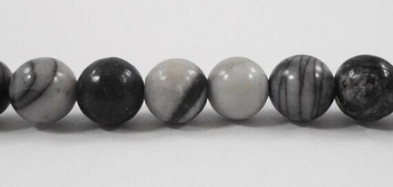 Spiderweb Jasper Beads 5mm Round Silk Stone Beads, Black and White Gemstone Beads, Striped Stone Beads on a 7 1/2 Inch Strand with 33 Beads