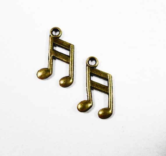 Bronze Music Note Charms, 13x8mm Antique Brass Music Note Charm, Small Music Note Pendants, Melody Charms, Musical Charms for Jewelry, 10pcs