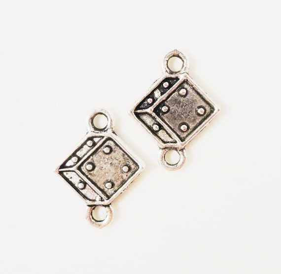 Silver Dice Connector Charms 16x12mm Antique Silver Tone Metal Casino Charm Earring Connector Link Jewelry Making Findings 6 Pairs (12pcs)