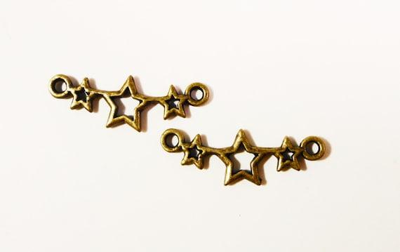 Bronze Star Charms 25x9mm Antique Brass Metal Star Connector Links, Star Connector Charms, Jewelry Making Findings, Craft Supplies 10pcs